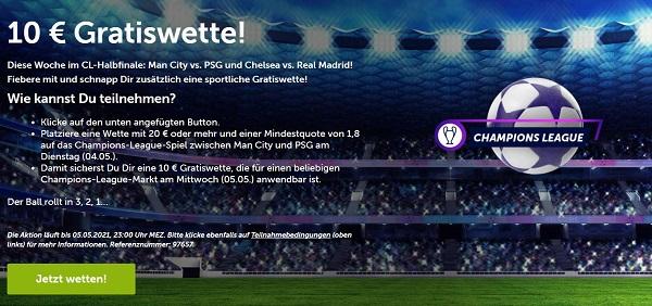 10 euro gratiswette comeon champions league