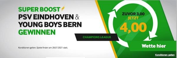 Betway Super Boost PSV Eindhoven YB Bern siegen erhöhte Quote wetten