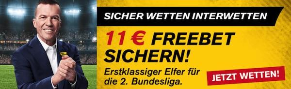 Interwetten 11€ Freiwette 2. Bundesliga wetten