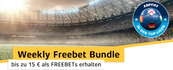 Bis zu 15€ in Freiwetten bei Xtip