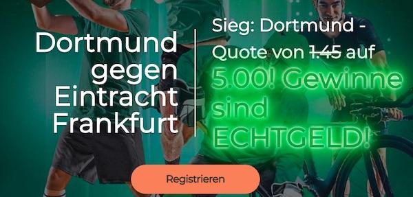 BVB gewinnt gegen SGE mit Quote 5.0 bei Mr. Green