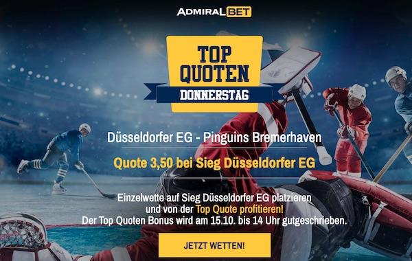 DEG gewinnt zu Quote 3.50 beim Admiralbet Top Quoten Donnerstag